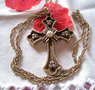 Großer Goldf.  Sarah Cov Kreuz Anhänger M.  Perle - Limited Edition 1975 - Mit Kette Bild