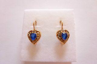 Exclusive Seltene Jugendstil Art Nouveau Ohrringe Gold 585 Herzen Saphir Perlen Bild