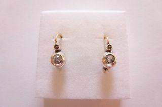 Exclusive Seltene Jugendstil Art Nouveau Ohrringe Gold 585 Mit Weiß Saphiren Bild