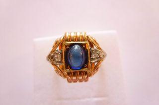 Sehr Exclusiver Prachtvoller Antiker Ring Gold 585 Geschwungen Saphir Diamanten Bild