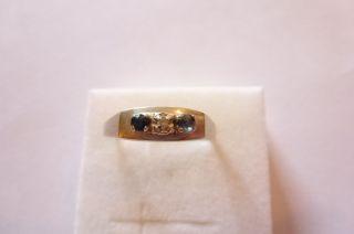 Prachtvoll Verzierter Art Deco Ring Weiß Gold 585 Mit Brillant Und Saphire Bild