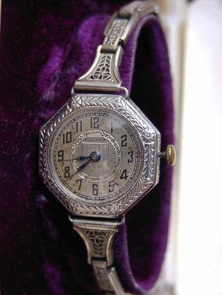 Tolle Vintage Bulova Damenuhr 14k Weißgold Gf Ziseliert Octagon Orig.  Goldband Bild