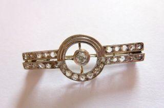 Prachtvolle Brosche Jugendstil Art Nouveau W - Gold 585 Mit Diamanten 0,  75 Carat Bild