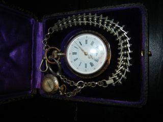 Taschenuhr - 800er Silber Remontoir Cylindre 6 Rubis Uhrkette Mit Kompass Läuft Bild