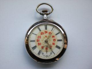 Silber - Taschenuhr = 24 Std - Anzeige = RÖmische,  Arabische Ziffern Bild