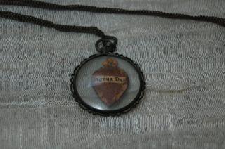 Antik & Trödel Religiöse Kunst Alte Kette Anhänger Amulette Agnus Dei Bild