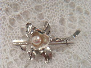 Feine Brosche 925 Silber Orchidee Blume Blüte Echte Perle 4 X 2,  3 Cm / 2,  6 Gr Bild