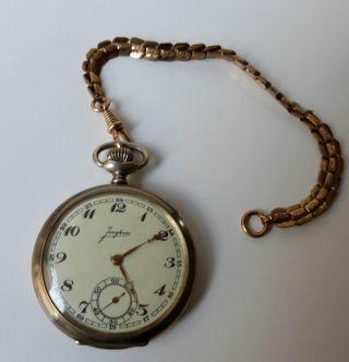 Antike Junghans Taschenuhr Massiv 900er Silberuhr,  25j.  Bergwerk Jubiläumsuhr Bild