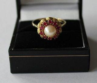 Goldring 333.  Rubine Und Perle. Bild
