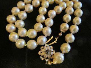 Sehr Hochwertige Barock Perlenkette Collier Weißgoldverschluß 585 Echt Gold Bild