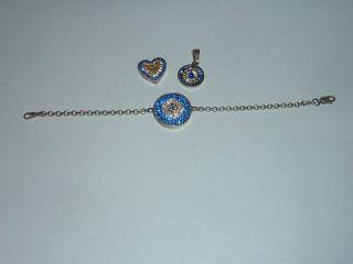 Schönes Schmuckset Silber 925 Armband Und 2x Anhänger Mit Glitzer Kristallen Bild