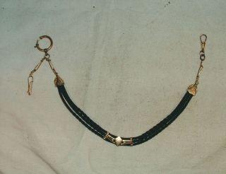 Biedermeier Haar Uhrkette Schaumgold Karabinerhaken Haken Taschenuhr Kette Bild