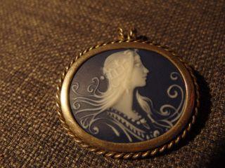 Silberkette M.  Villeroy & Boch V&b Anhänger Aus Porzellan Brosche Gemme Camee Bild
