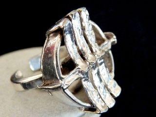 Wunderschöner Großer 835 Silber Ring Mit Motiv Verstellbar / Design / Um 1970 Bild