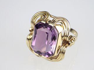 Art Deco Damen 585 14k Gelbgold Gold 10 Ct Echter Amethyst Ring,  Antik,  Größe 55 Bild