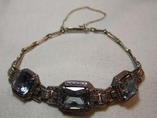 Jugendstil 830er Silber Armband 3 X Echte Aquamarine Design Bild