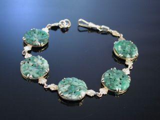 Jadearmband Jade Art Deco Armband Wien Um 1920 Echte Jade Gold 585 Exquisit Bild