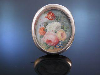 Brosche Miniatur Blumen Silber Vergoldet Frankreich Um 1850 Bild