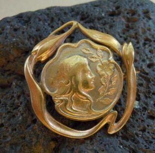 Englische Jugendstil Silber Lady Brosche Vergoldet Um 1910 Bild