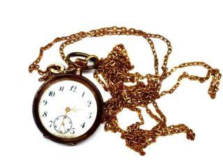 Silberne Damentaschenuhr Mit Uhrenkette 8ql3136 Bild