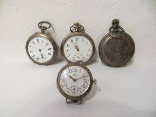 Taschenuhren - Konvolut - Silber - Antik - 1 Omega - 4 Stück - Defekt An Bastler - Art.  1340 Bild