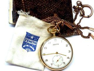 Zenith: Goldfb.  Taschenuhr Mit Uhrenkette,  Box (etwas Beschädigt) 8ql3137 Bild