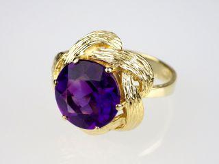 Art Deco Damen 585 14k Gelbgold Gold 8 Ct Echter Amethyst Ring,  Antik,  Größe 54 Bild