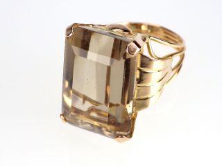 Art Deco Damen 750 18k Gelbgold 20 Ct Rauchtopas Ring,  Antik,  Größe 52 Bild