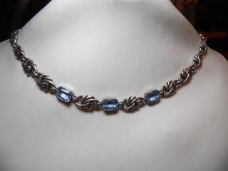 Art_deco 835er Silber Kette 3x Echte Aquamarine Design Bild