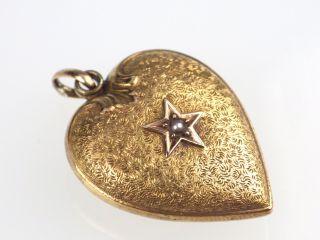 Historismus Damen 585 14k Gelb Gold Herz Orient Perle Ketten Anhänger,  Pendant Bild
