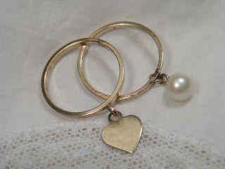 2 X Ring 333 Gold / 8 K Mit Anhänger Perle / Herz Rg 52 U.  54 / Beide 2,  3 Gr 1980 Bild