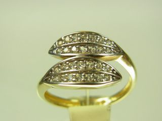 Schöner Ring 333 Gelbgold Und Weißgold Mit 20 Weißen Zirkonias Bild