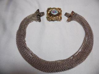 Antike Kropfkette 8 Reihig Silber Vergoldet Emaile Design Bild