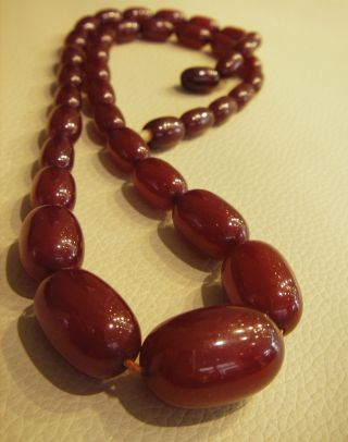 Antik Cherry Amber Bakelit Olive 31 Gramm 53 Cm Art Deco Bild