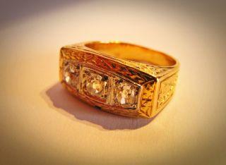 Schöner Schwerer Ring Jugendstil 750 Gold 1,  02 Ct Diamanten G/if Größe 53 Bild