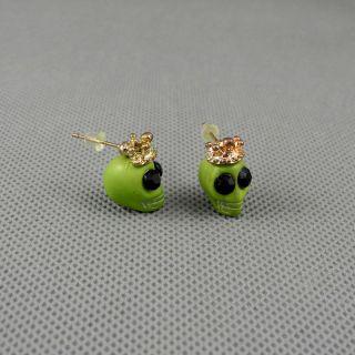 1x Schmuck Ohrclip Jewelry Ear Stud Ohrringe Earrings Xj0167 Schädel Skull Bild