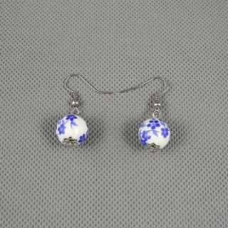 1x Brosche Schmuck Retro Vintage Punk Ohrringe Earrings Xj0486 Porzellan Ball Bild