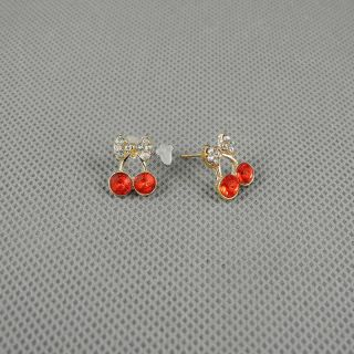 1x Brosche Schmuck Retro Frauen Fashion Ohrringe Earrings Xj0535 Kirsche Cherry Bild