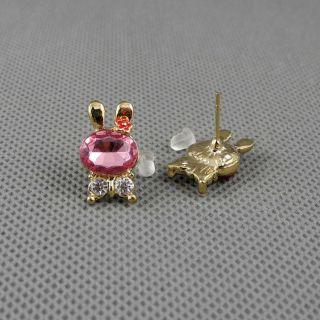 1x Schmuck Ohrclip Frauen Ear Stud Ohrringe Earrings Xf226b Kaninchen Rabbit Bild