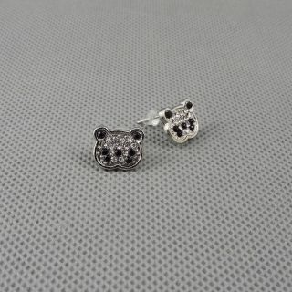 1x Brosche Schmuck Ohrclip Pin Ear Clip Ohrringe Earrings Xj0158 Panda Kristall Bild