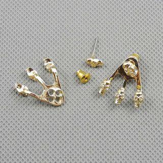 1x Schmuck Ohrstecker Strass Punk Ohrringe Earrings Xf186d Paar Schädel Skull Bild