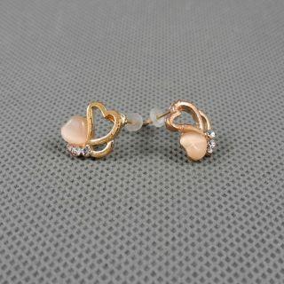 1x Schmuck Retro Vintage Strasssteine Ohrringe Earrings Xj0378 Pfirsich Herz Bild