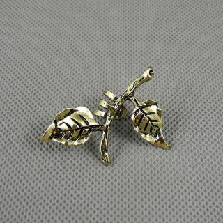 1x Brosche Schmuck Ohrclip Strasssteine Men Ohrringe Earrings Xf233b Blatt Leaf Bild