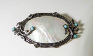 Jugendstil Brosche Silber TÜrkis Perlmutt Art Nouveau Brooch Silver As002 Bild