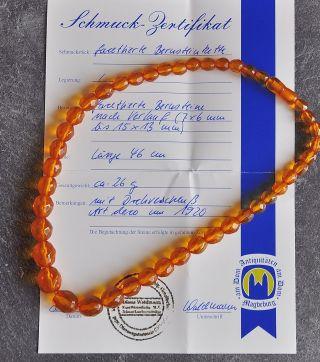 Art Deco Echte Bernstein Kette 26gramm Amber Um 1920 Mit Schmuck - Zertifikat Bild