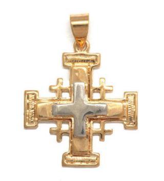 Kreuz Von Jerusalem In Drei Reliefs.  Gelb Und Weiß - Gold überzogen Bild