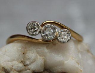 Diamantring 18 K Gold 750 Jugendstil Bild