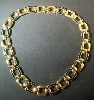 Vintage Designer Statement Halskette Collier Monet Shiny Gold Email Choker Bild