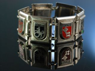 Grosses Armband Stadtwappen Buntes Email Silber 835 Emaille Hamburg Um 1925 Bild