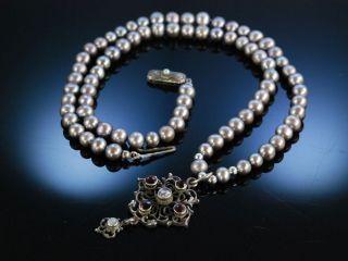 Perlenkette Mit Anitkem AnhÄnger Tracht Kette Silber Granat Zuchtperlen Um 1880 Bild